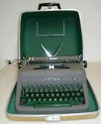 Royal Quiet De Luxe 1953 Crackle Finish Green Keys Portable Typewriter