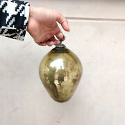 Antique German Kugel 7flaxen Gold Oval Egg Shape Christmas Ornament Collectible