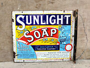 Antique Lever Brothers Sunlight Soap Enamel Sign England Advertising Collectable