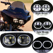 For Road Glide Motorcycle Headlight Dual Led Headlamp Projector Hi/lo Beam 04-13