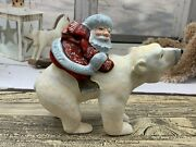 7 Wooden Carved Santa On Polar Bear Father Frost Ded Moroz Christmas Decoration