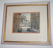 H.m.gasser Original Watercolor Painting In Rome Signed By The Artist- Professi