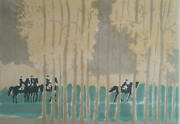 Rare 1975 Hand Signed J. Fontaine Artist Proof Riding In The Woods Horse Racin
