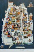 Signed Jovan Obican Village In The Hills 412/1000 Judaica Art Lithograph Print