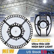 10x 100w Ultra-thin Led High Bay Light Deformable Mining Lamp Warehouses Garages