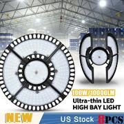 8x 100w Ultra-thin Led High Bay Light Deformable Mining Lamp Warehouses Garages