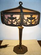 Signed Bradley And Hubbard Arts And Crafts Era Classic Design 27 Slag Glass Lamp