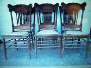 Antique Victorian Oak Pressed Back Chairs Set 6 Extraordinary Detail 7 Spindles