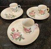 Vtg Set Of 3 Lefton China Tea Cup And Snack Plates Hand Painted And Gold Trim