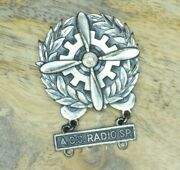 Ww2 Army Air Corps/force Qualification Technician Badge Sterling Acs Radio Sp.
