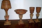 Antique Marble Alabaster Stork Compote And Three Lamps Very Rare Set