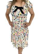 Auth Vintage Coco Mark Ribbon Dress Zipped Button Colorful Rankab