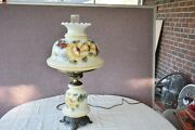 Vintage Hurricane Gone With The Wind Floral Design Very Large Lamp