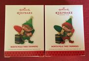 2013 Hallmark 2 Ornaments North Pole Tree Trimmers And Repaint1st In Seriesnib