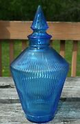 Rare Vintage Wheaton Blue Glass Genie Bottle Decanter Ribbed Pattern