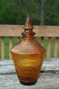 Rare Vintage Wheaton Amber Glass Genie Bottle Decanter Ribbed Pattern
