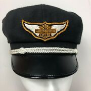 Harley Davidson Vintage Captains Hat Motorcycle Black Small Wool Leather Cap