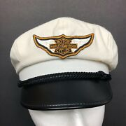 Harley Davidson Vintage Captains Hat Motorcycle White Small Wool Leather Cap