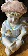 Vintage Bisque Hand Painted Boy Piano Babies Figurines 6162