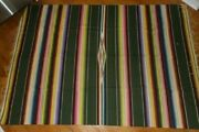 Beautiful Vintage Large 88 X 62 Multi Color Striped Mexican Saltillo Blanket