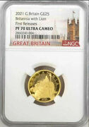 2021 Uk Britannia With Lion Andpound25 1/4oz Gold Proof Coin Ngc Pf70 Uc First Releases