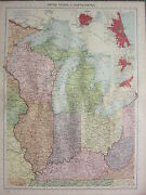 1940 Map United States North Central Wisconsin Michigan St Louis Chicago