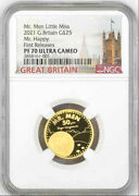 2021 Uk Mr. Men Little Miss - Mr. Happy Andpound25 1/4oz Gold Proof Coin1 Ngc Pf70uc Fr