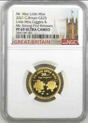 2021 Uk Mr. Men Little Miss Giggles And Mr. Strong 1/4oz Gold Proof Ngc Pf69uc Fr