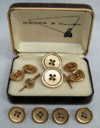 Vintage Button Style 14k Solid Yellow Gold Blazer Buttons Cufflinks And Studs Set