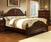 1pcs Set Queen Bed Cherry Finish Low Post Traditional Bedframe Solid Wood