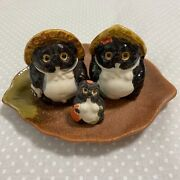 Family Tanuki Raccoon Dog Figurine Ceramic Pottery Parent And Child From Japan