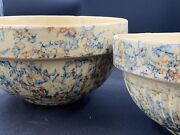 2 Red Wing Saffron Ware Pottery Sponge Bowls 6 And 7andrdquo Stamped Farmhouse Vintage