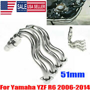 Motorcycle Full Exhaust Headers Front Mid Link Pipe For Yamaha Yzf-r6 2006-2014