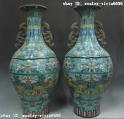 26 Inch Chinese Regius Palace Copper Cloisonne Two Dragon Pot Vase Pair