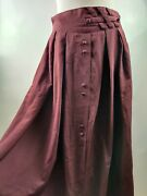 Vintage Canda Women Skirt Aline Midi Button Front Red Burgundy Pleated Uk 14 Large
