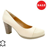 Women's Pumps Leather 7-cm Heel Real Evening Shoes Beige Made In Spain - Sale