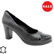 Women's Pumps Leather 7-cm Heel Real Evening Shoes Black Made In Spain - Sale