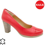 Women's Pumps Leather 7-cm Heel Real Evening Shoes Red Made In Spain - Sale