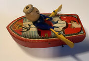 Vintage Antique 1940s Fisher Price Row Boat Pull Behind Toy 730 Rare. Works