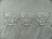 Glass Footed Custard Cups/sherbet Glasses, Pressed Glass Design, Square Bottoms