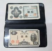 Vintage Occupied Japan 1946 One Note And 10 Yen Note In Holder