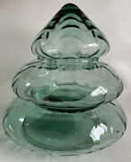 Princess House Christmas Tree 6415 Glass 3 Stacked Cannister Dish Green
