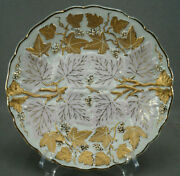 Andrea Sadek Relief Molded Gold Grapes And Pink Leaves 8 1/4 Plate C. 1936-50s C