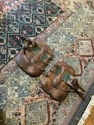 Open Front Devoucoux Brown Leather Tendon Protection Boots Horse Full W/ Buckles