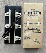 Vintage Double Bladed Fillet Knife With Fish Clamp O A Friemoth Boxed