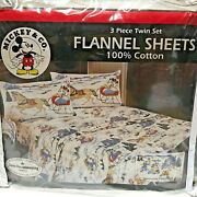 Vintage Disney Mickey And Co 3 Piece Flannel Sheets Twin Set Winter Sleigh Ride