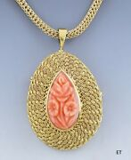 Lovely 18k Gold And Carved Pink Coral Floral Pendant Pin Brooch W/14k Chain