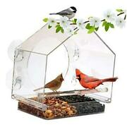 Window Bird House Feeder By With Sliding Seed Holder And 4 Suction Cups