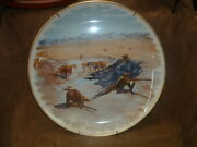 Frederic Remington Gorham China Collector Wall Plate Fight For The Waterhole