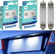 Philips Ultinon Led Light 6418 White 6000k Two Bulbs License Plate Tag Replace
